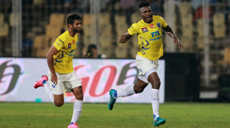 Kervens Belfort of Kerala Blasters FC celebrates a goal during match 22 of the Indian Super League (ISL) season 3 between FC Goa and Kerala Blasters FC held at the Fatorda Stadium in Goa, India on the 24th October 2016.  Photo by Vipin Pawar / ISL / SPORTZPICS