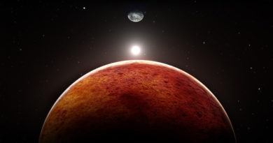 Planet Mars with moon, illustration; Shutterstock ID 225579082; Usage: Web; Issue Date: n/a